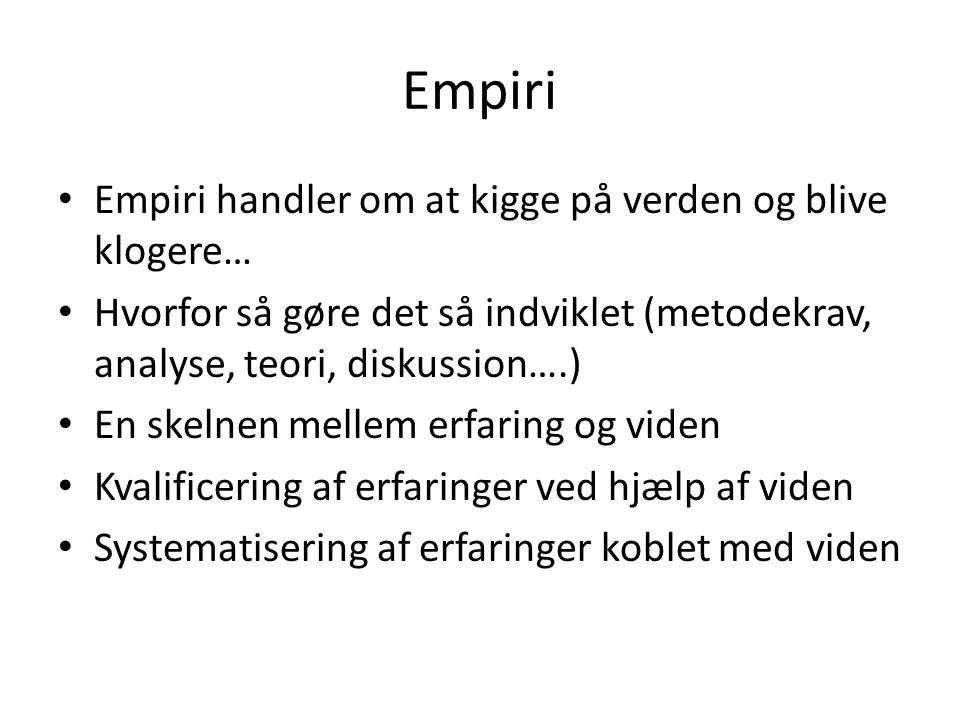 Empiri Empiri handler om at kigge på verden og blive klogere…