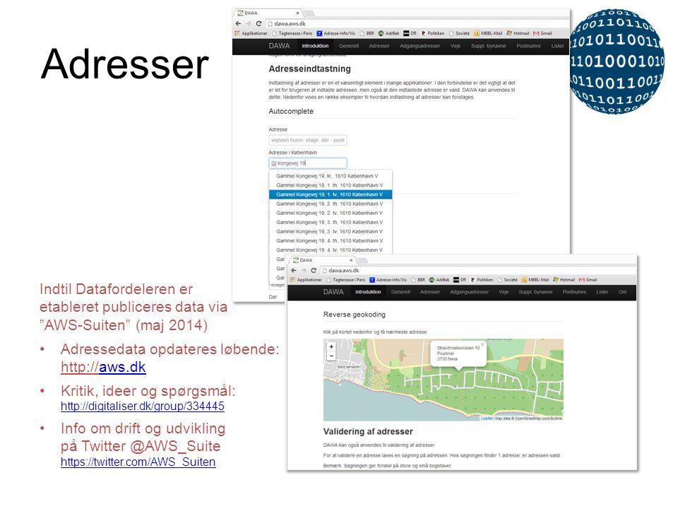 Adresser Indtil Datafordeleren er etableret publiceres data via AWS-Suiten (maj 2014) Adressedata opdateres løbende: http://aws.dk.