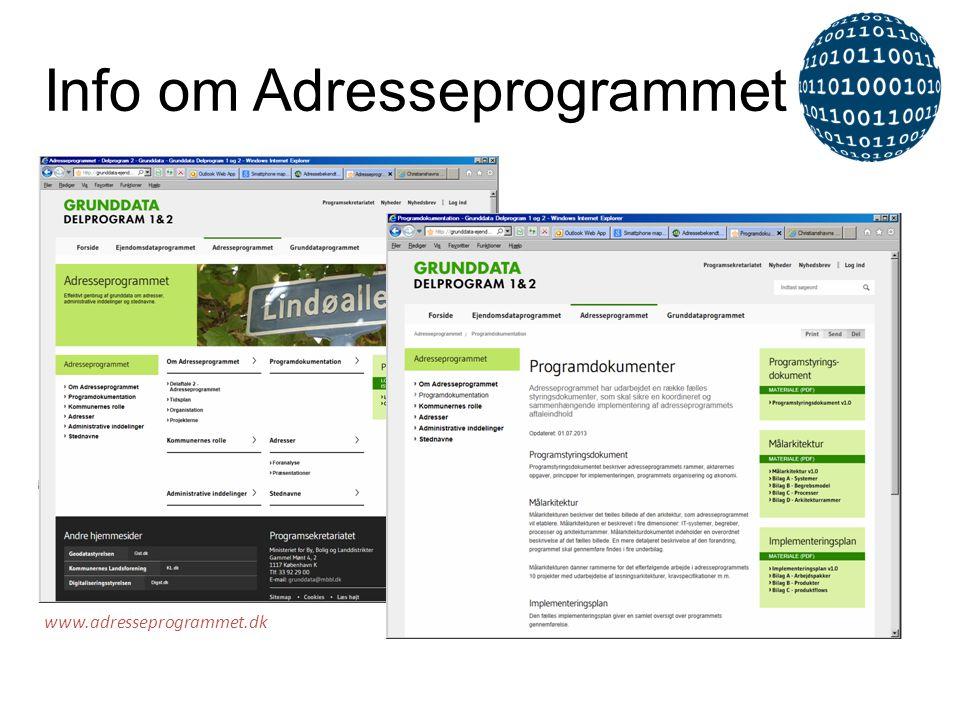 Info om Adresseprogrammet