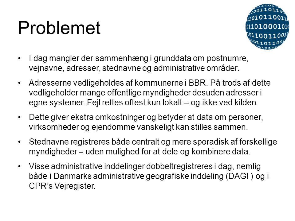 Problemet I dag mangler der sammenhæng i grunddata om postnumre, vejnavne, adresser, stednavne og administrative områder.