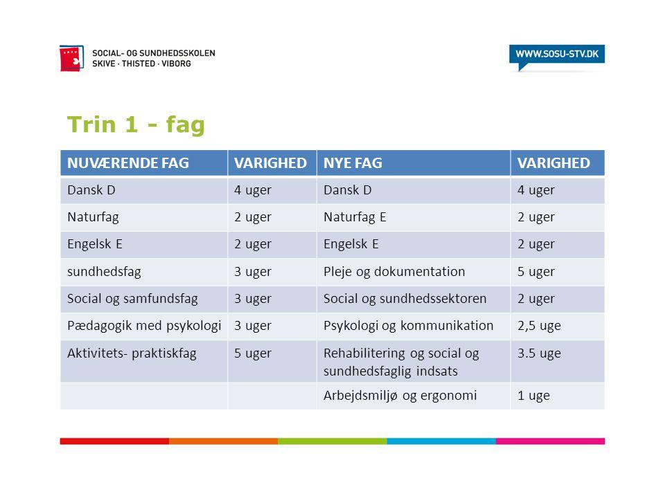 Trin 1 - fag NUVÆRENDE FAG VARIGHED NYE FAG Dansk D 4 uger Naturfag