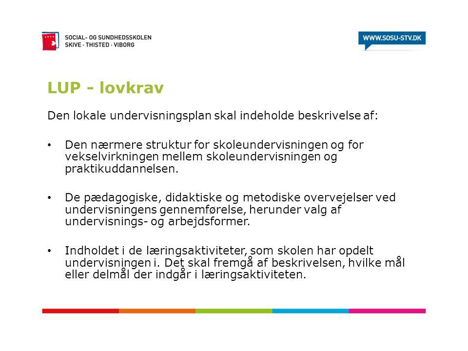 LUP - lovkrav Den lokale undervisningsplan skal indeholde beskrivelse af: