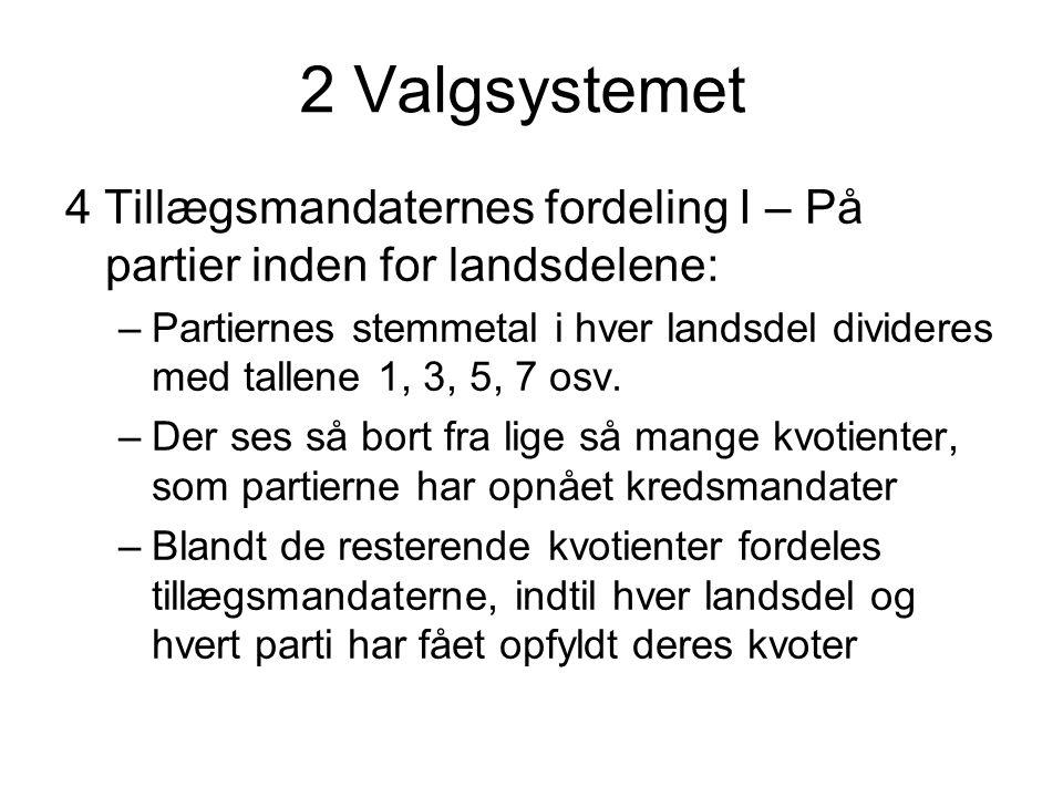 2 Valgsystemet 4 Tillægsmandaternes fordeling I – På partier inden for landsdelene: