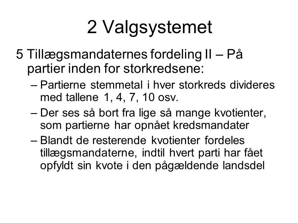 2 Valgsystemet 5 Tillægsmandaternes fordeling II – På partier inden for storkredsene: