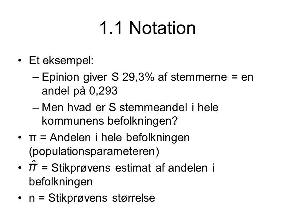 1.1 Notation Et eksempel: Epinion giver S 29,3% af stemmerne = en andel på 0,293. Men hvad er S stemmeandel i hele kommunens befolkningen