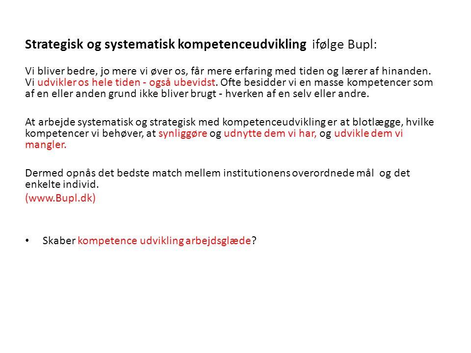 Strategisk og systematisk kompetenceudvikling ifølge Bupl: