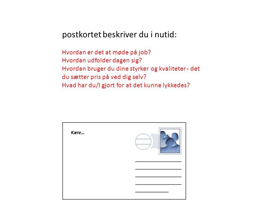 postkortet beskriver du i nutid: