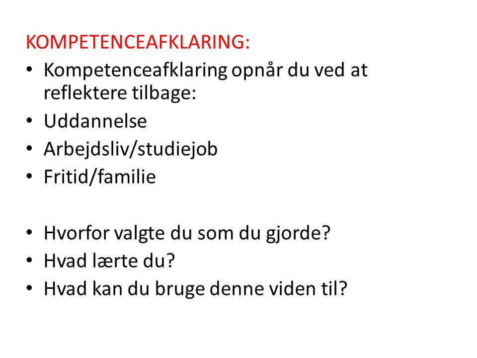 KOMPETENCEAFKLARING:
