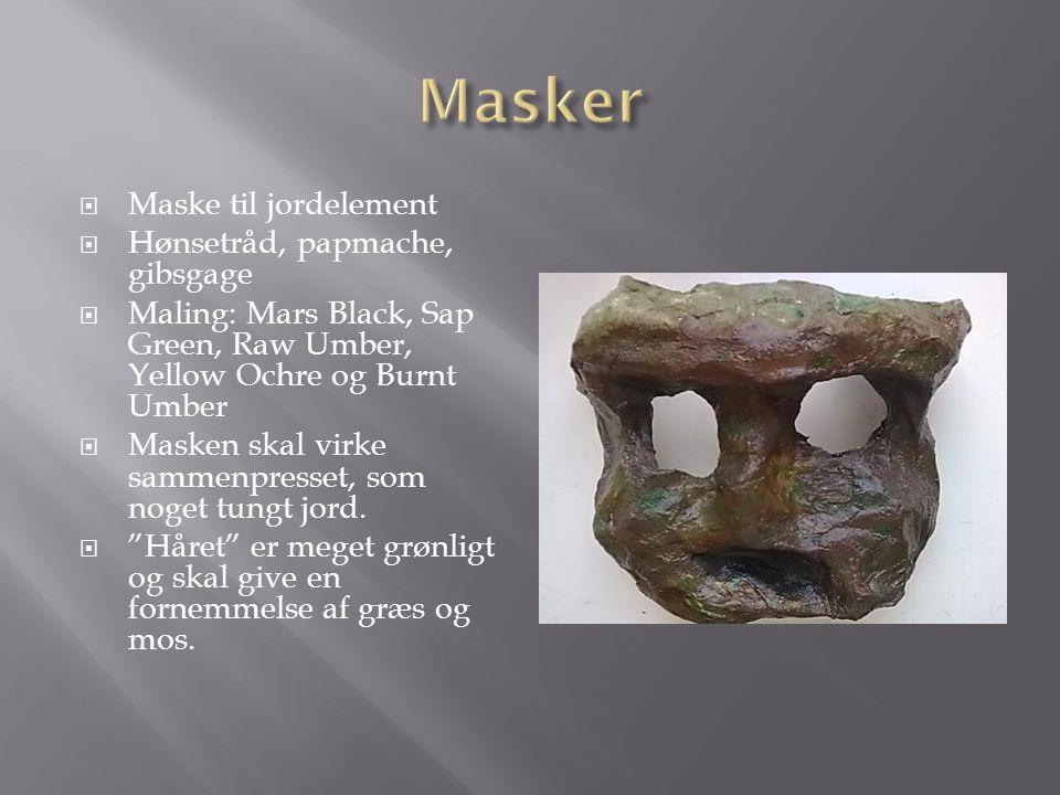 Masker Maske til jordelement Hønsetråd, papmache, gibsgage