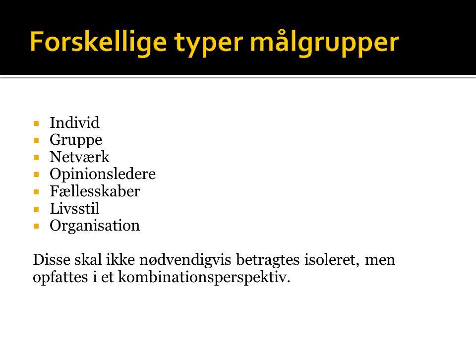 Forskellige typer målgrupper