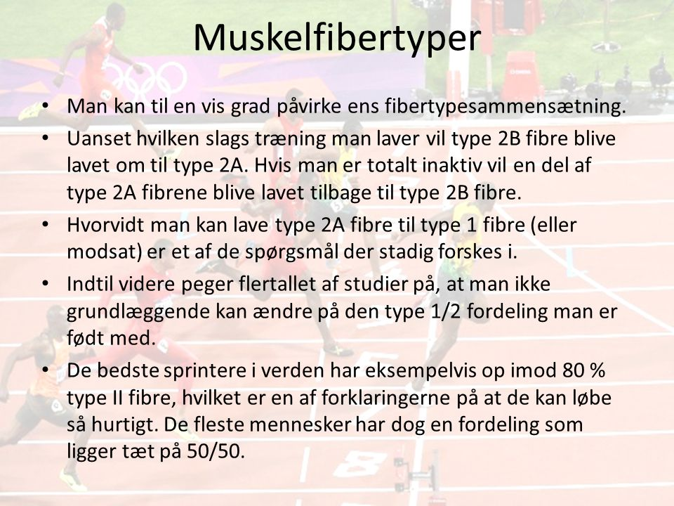 Muskelfibertyper Man kan til en vis grad påvirke ens fibertypesammensætning.
