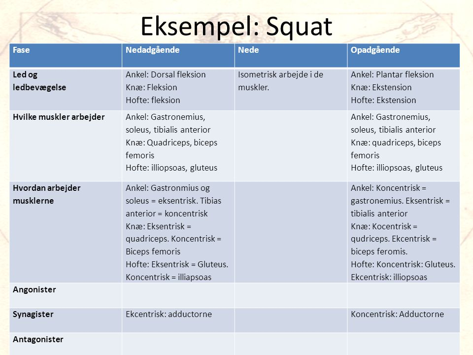 Eksempel: Squat Fase Nedadgående Nede Opadgående Led og ledbevægelse