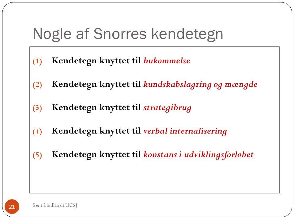Nogle af Snorres kendetegn