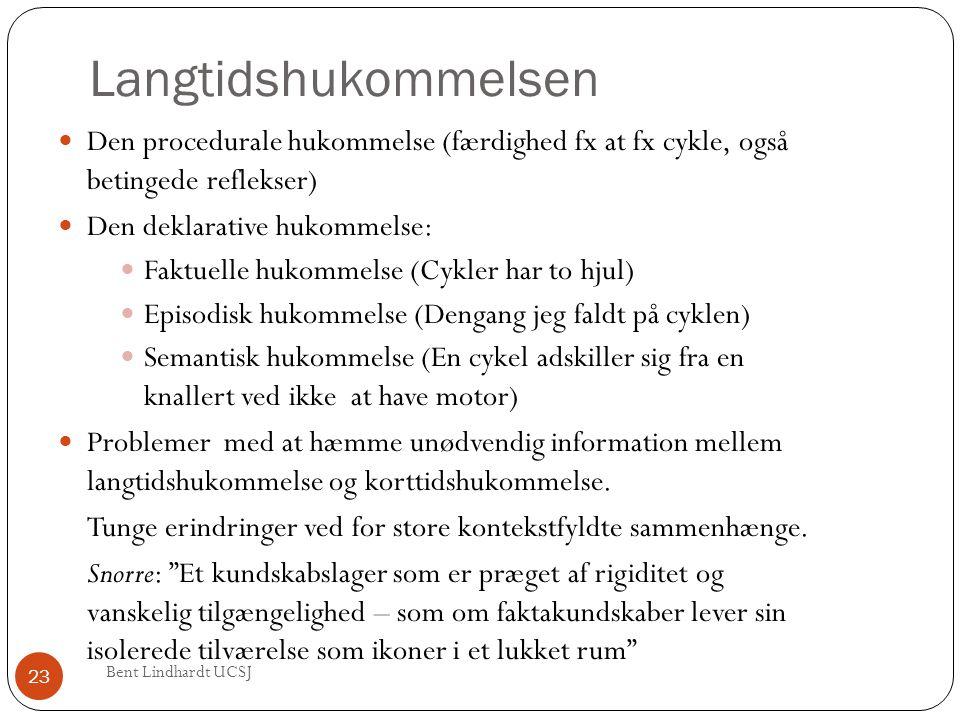 Langtidshukommelsen Den procedurale hukommelse (færdighed fx at fx cykle, også betingede reflekser)