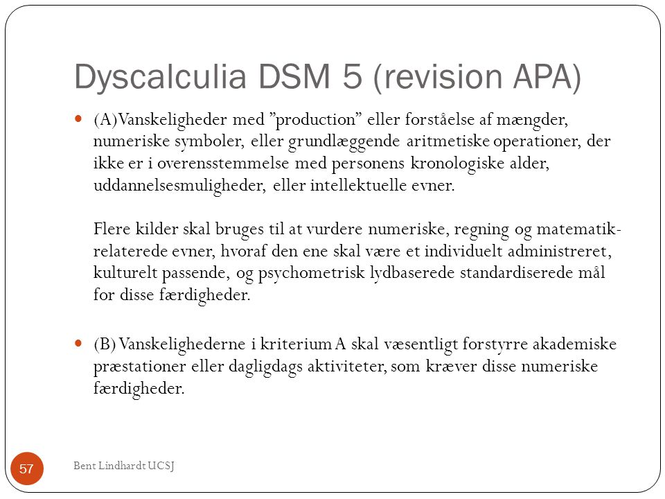 Dyscalculia DSM 5 (revision APA)