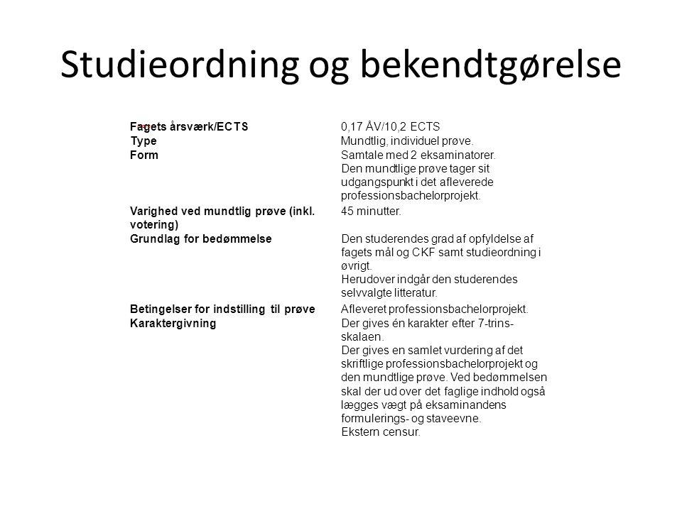 Studieordning og bekendtgørelse
