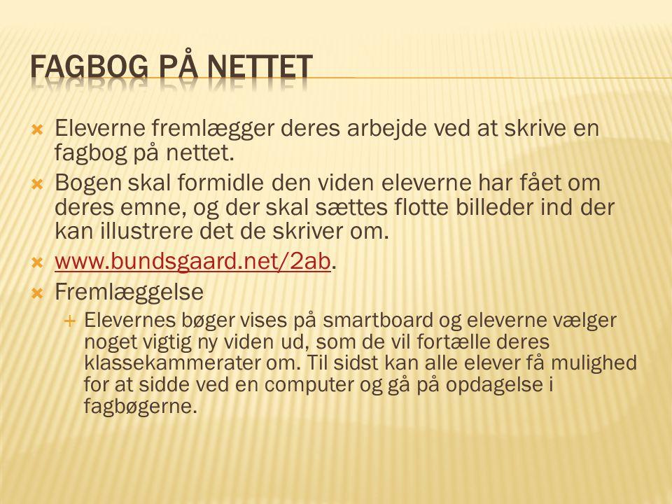 Fagbog på nettet Eleverne fremlægger deres arbejde ved at skrive en fagbog på nettet.