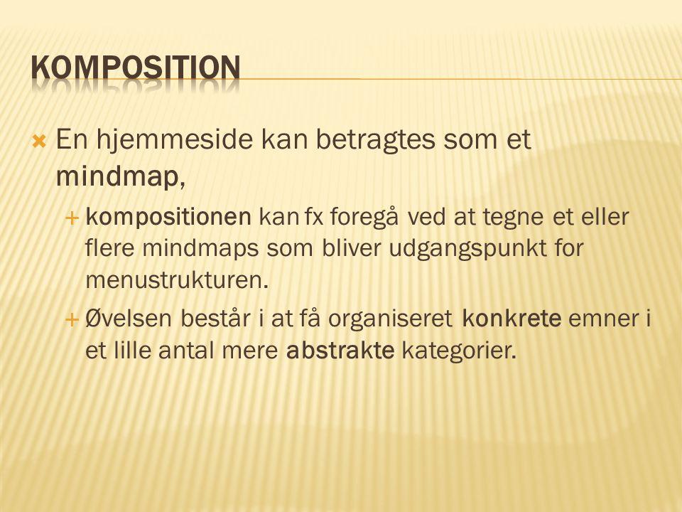 Komposition En hjemmeside kan betragtes som et mindmap,