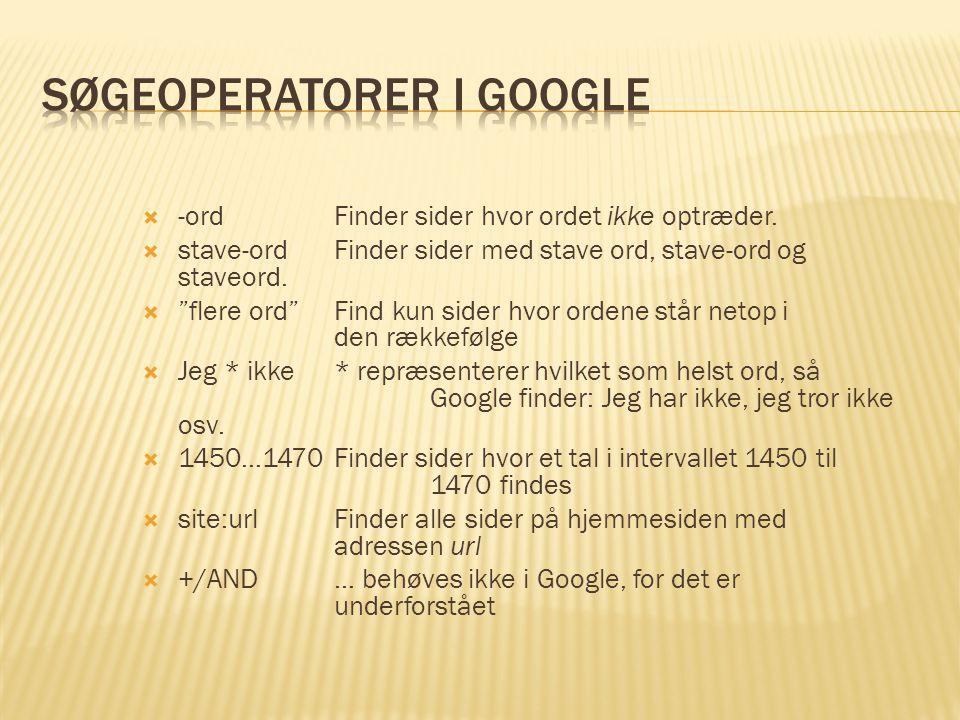 Søgeoperatorer i Google