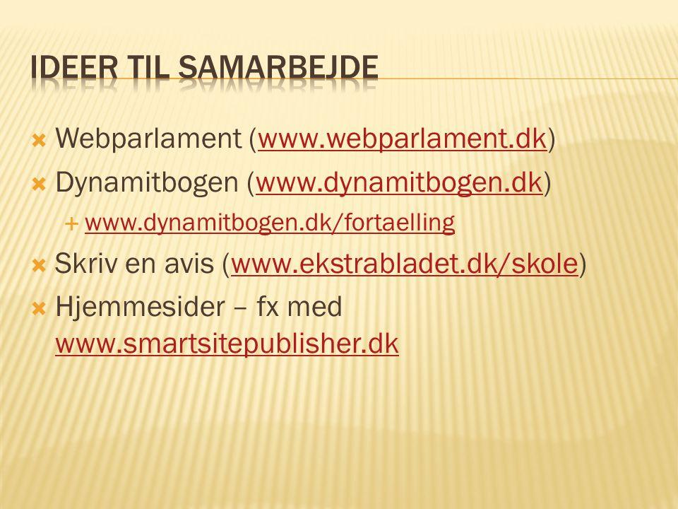 Ideer til samarbejde Webparlament (www.webparlament.dk)