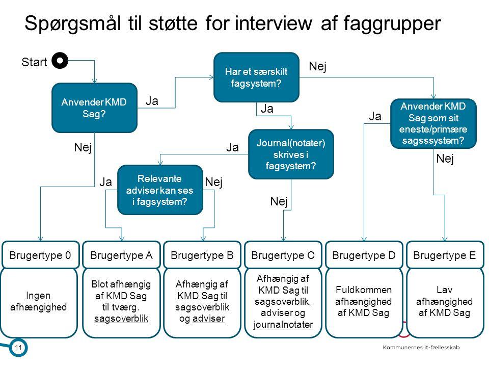 Spørgsmål til støtte for interview af faggrupper