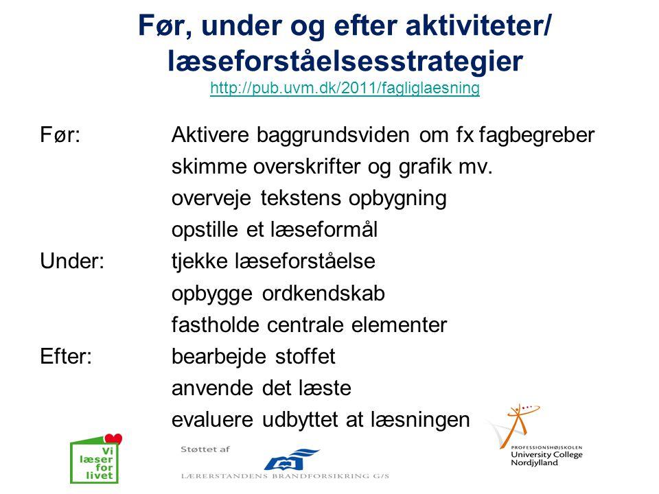Før, under og efter aktiviteter/ læseforståelsesstrategier http://pub