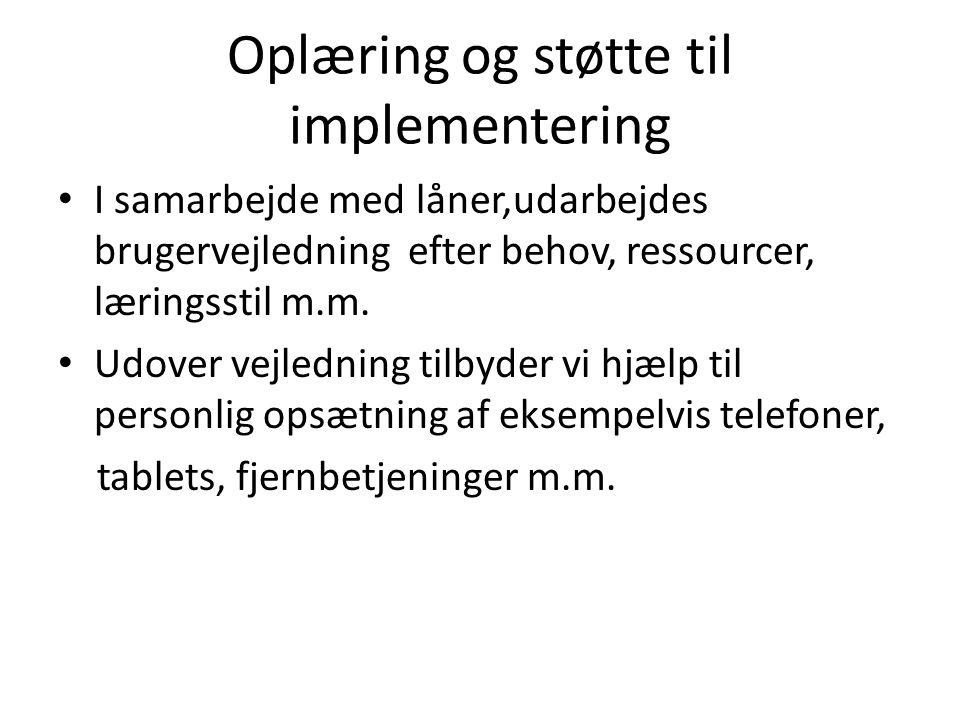 Oplæring og støtte til implementering