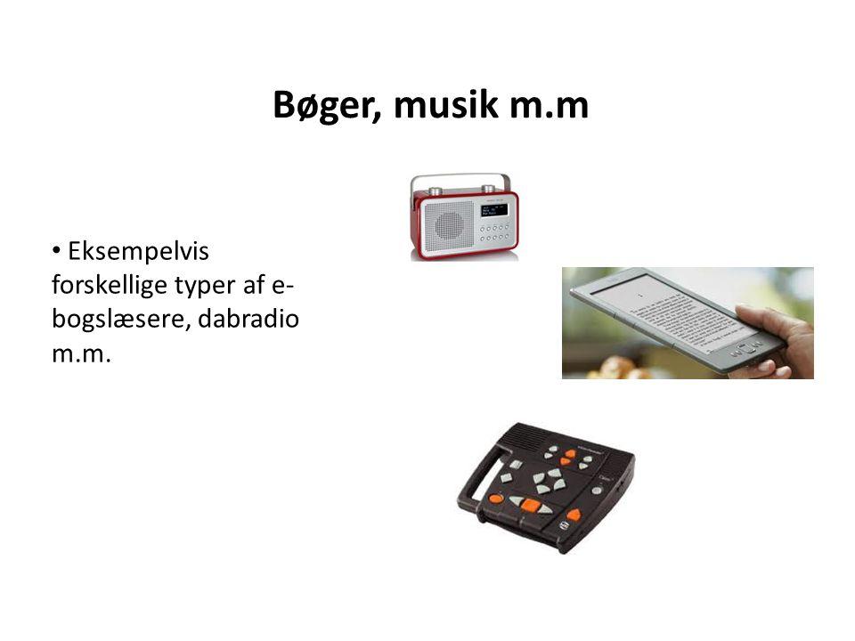 Bøger, musik m.m Eksempelvis forskellige typer af e- bogslæsere, dabradio m.m.