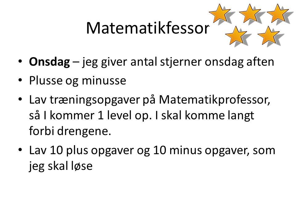 Matematikfessor Onsdag – jeg giver antal stjerner onsdag aften