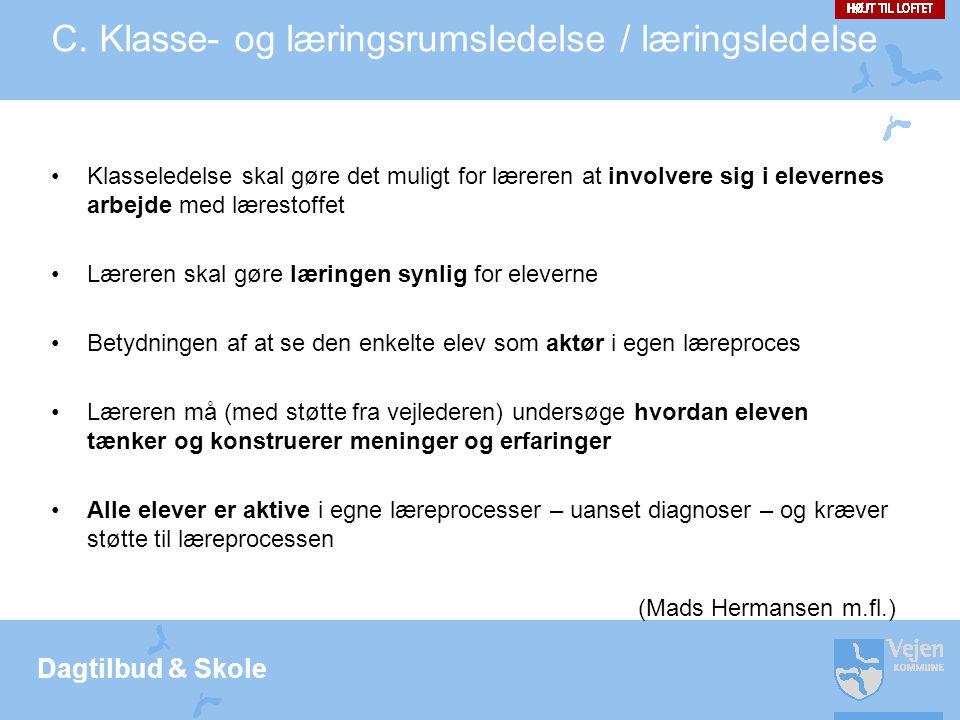 C. Klasse- og læringsrumsledelse / læringsledelse