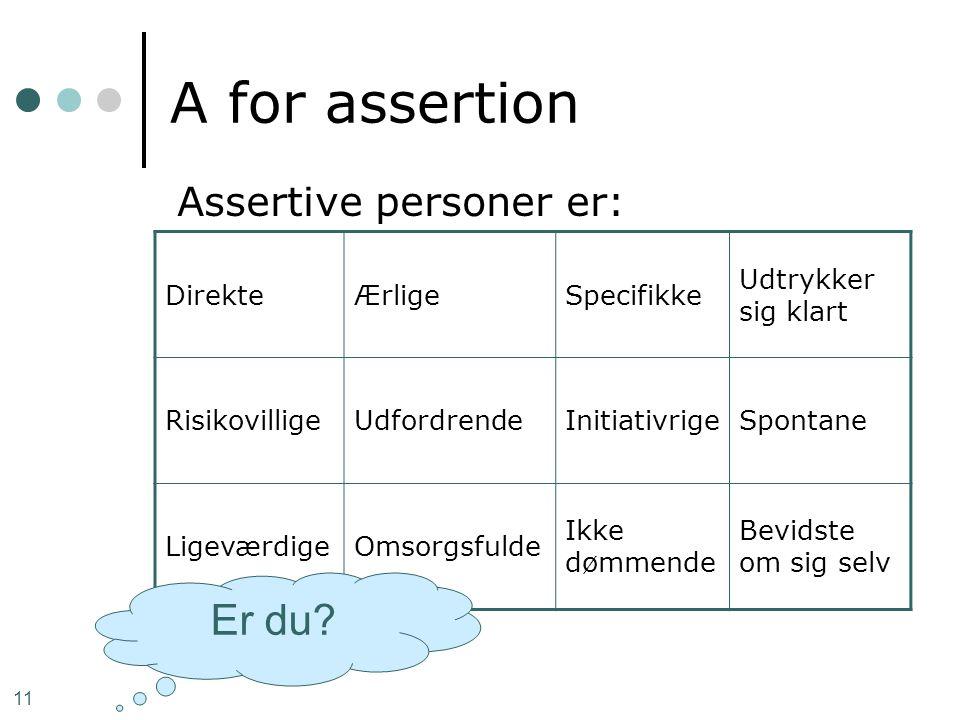 A for assertion Er du Assertive personer er: Direkte Ærlige