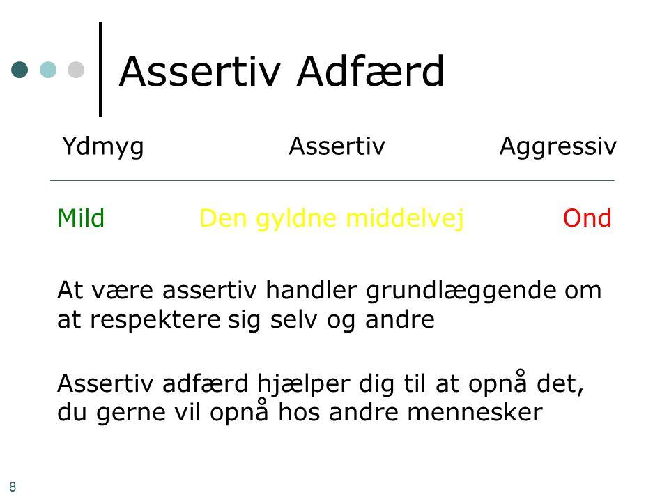 Assertiv Adfærd Ydmyg Assertiv Aggressiv Mild Den gyldne middelvej Ond