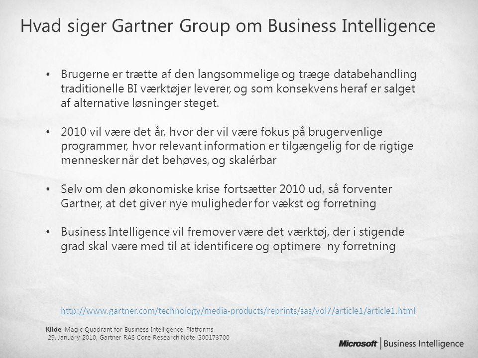 Hvad siger Gartner Group om Business Intelligence
