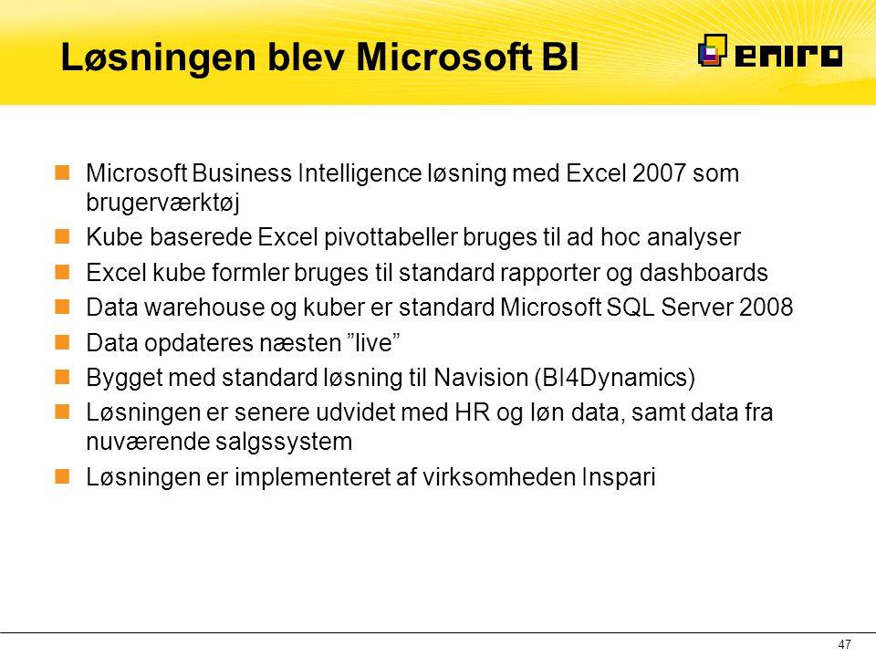 Løsningen blev Microsoft BI