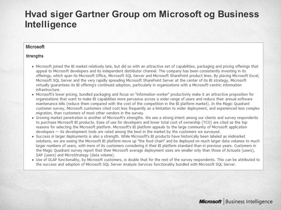 Hvad siger Gartner Group om Microsoft og Business Intelligence