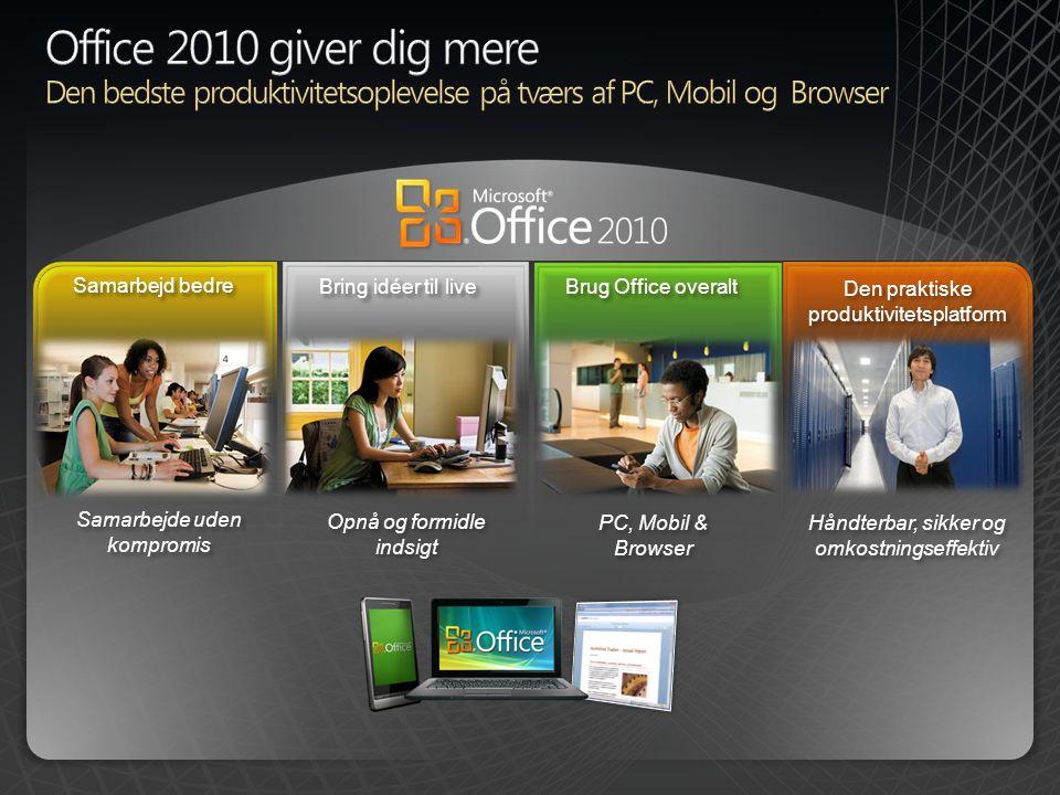 BPIO TDM Customer Deck 4/2/2017. Office 2010 giver dig mere. Den bedste produktivitetsoplevelse på tværs af PC, Mobil og Browser.