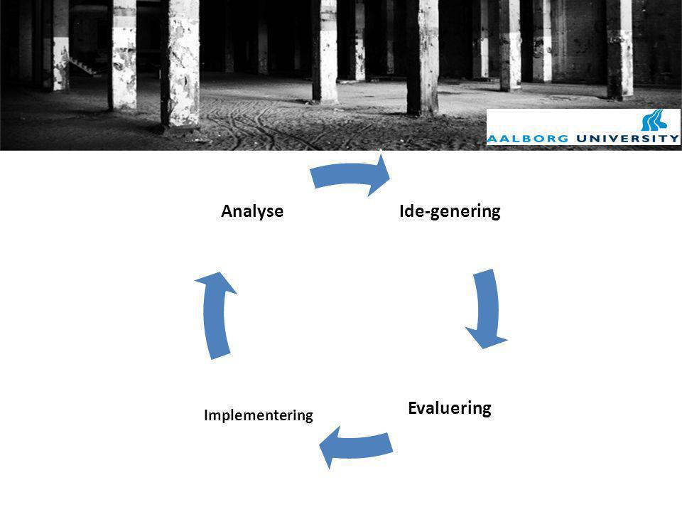 Ide-genering Evaluering Analyse