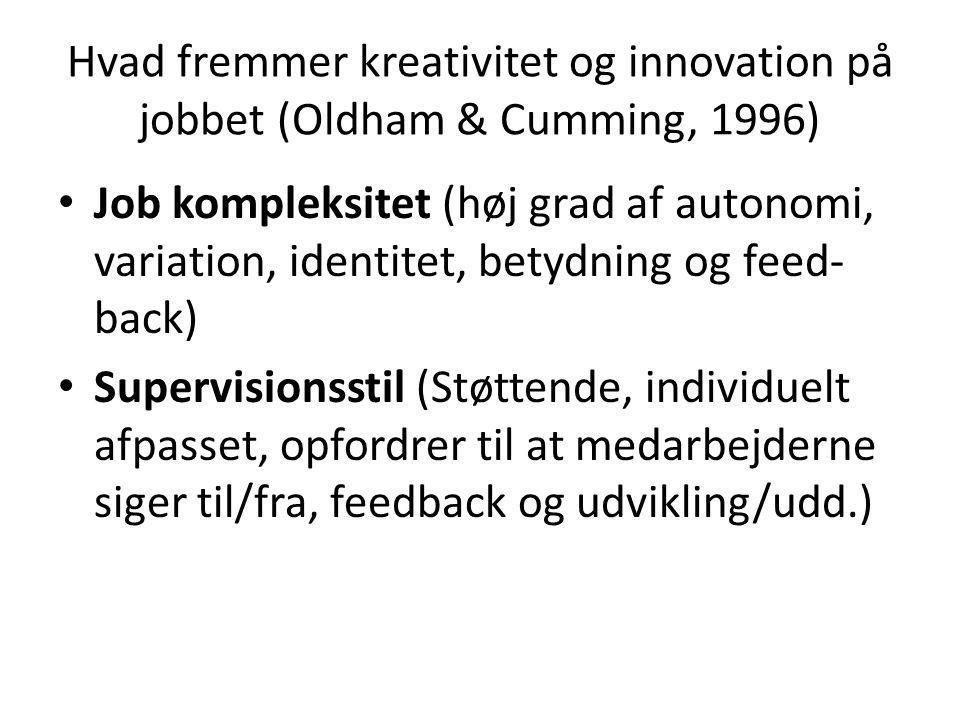 Hvad fremmer kreativitet og innovation på jobbet (Oldham & Cumming, 1996)