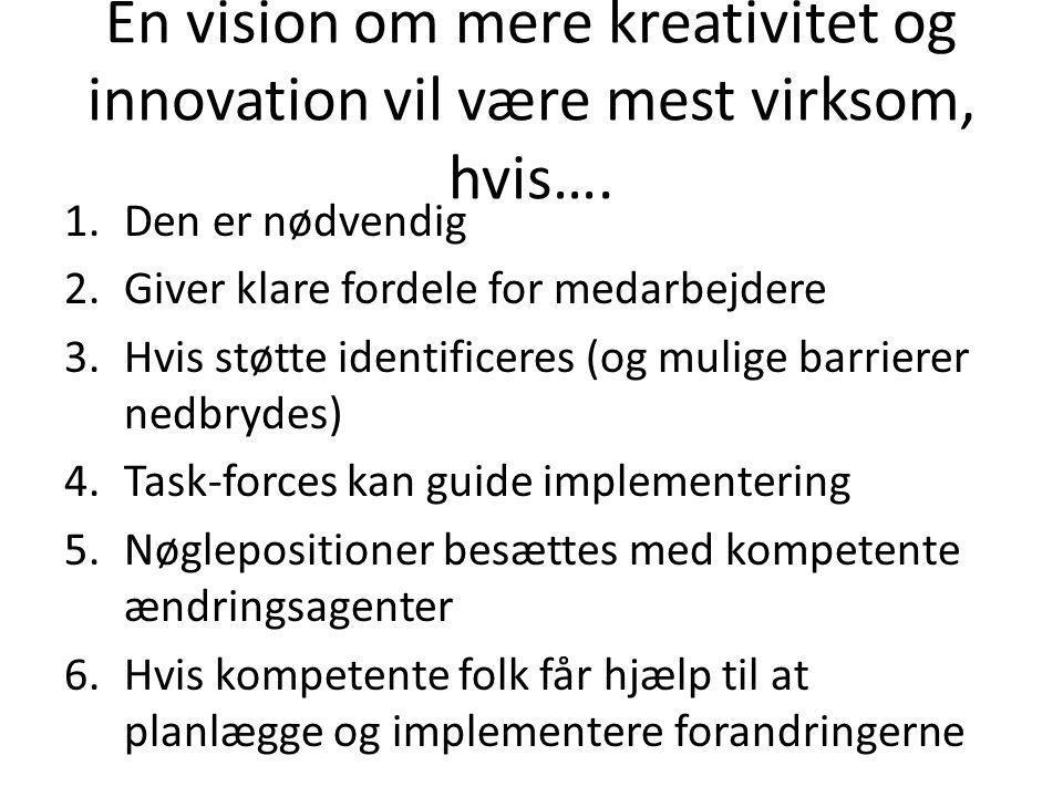 En vision om mere kreativitet og innovation vil være mest virksom, hvis….
