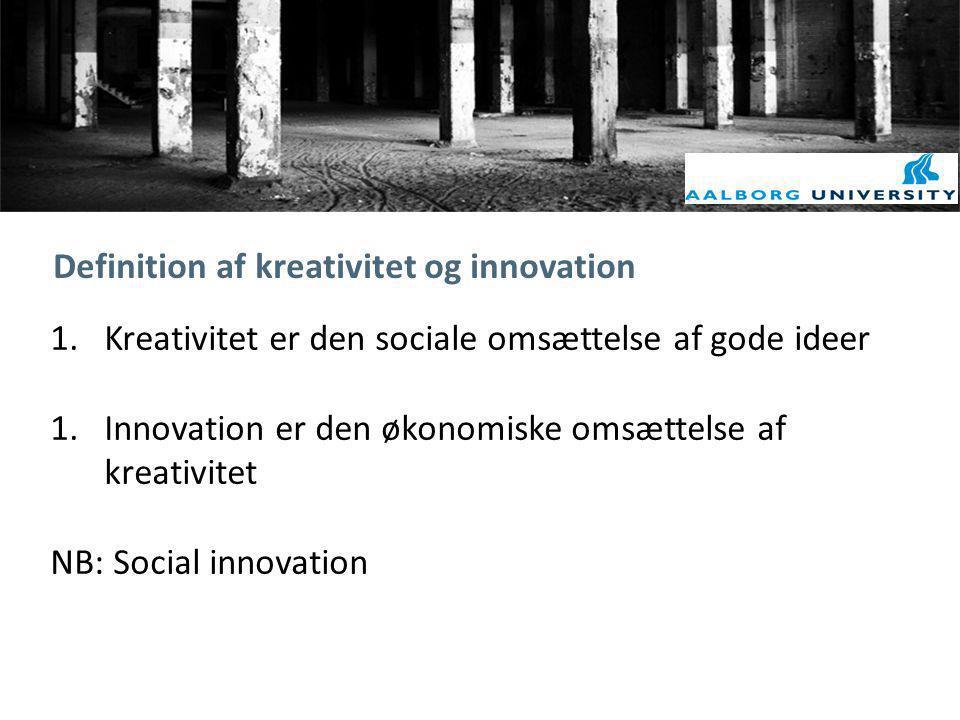 Definition af kreativitet og innovation