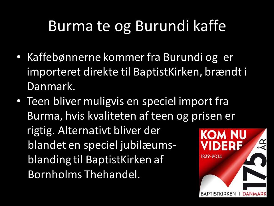 Burma te og Burundi kaffe