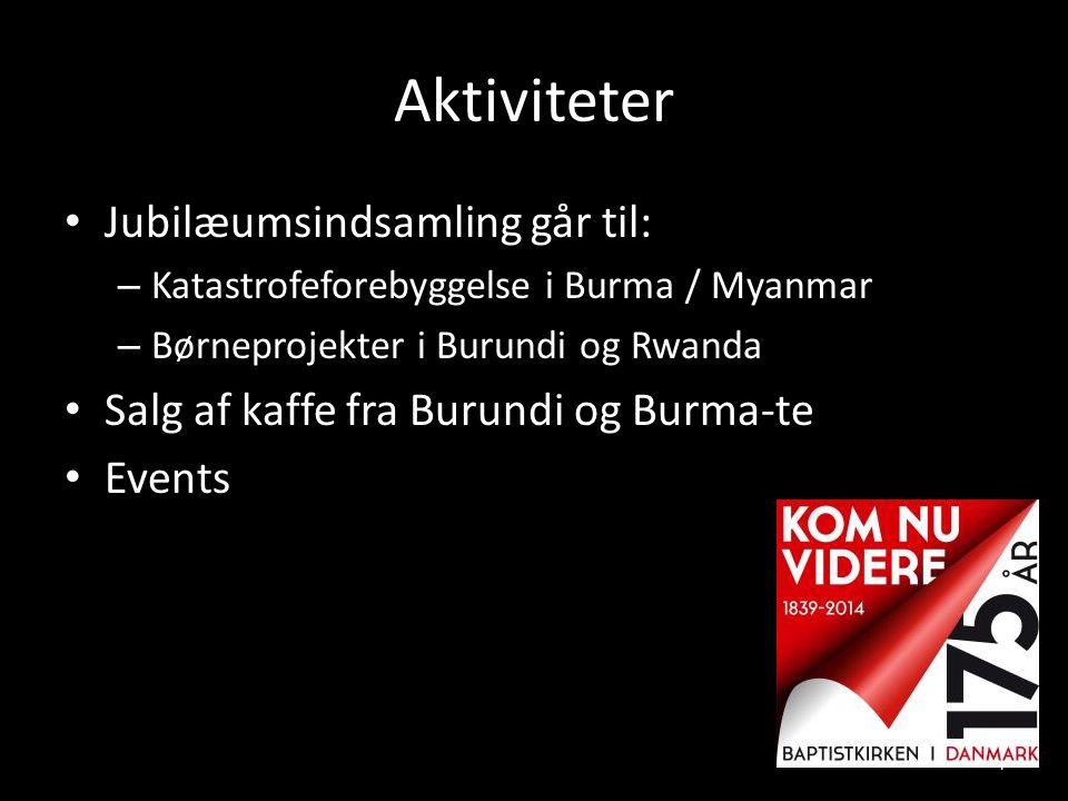 Aktiviteter Jubilæumsindsamling går til: