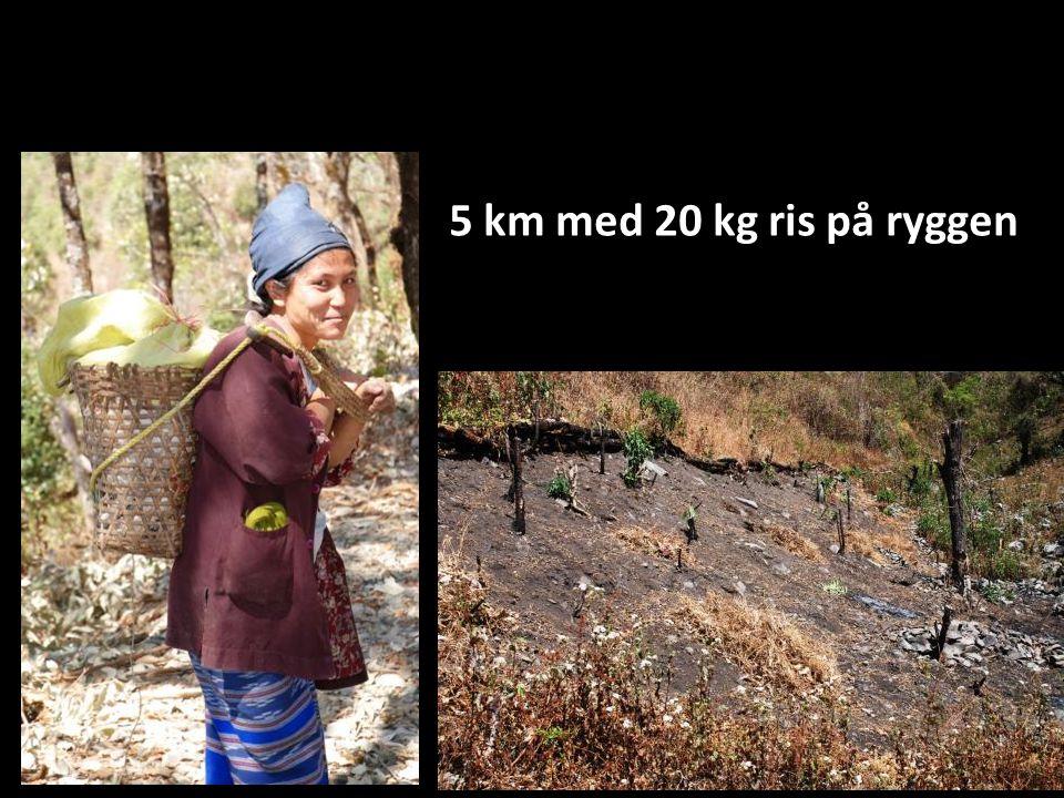 5 km med 20 kg ris på ryggen