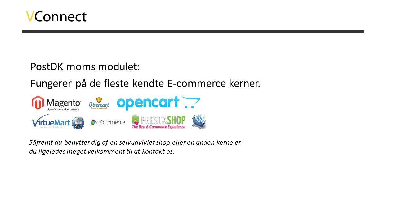 PostDK moms modulet: Fungerer på de fleste kendte E-commerce kerner.