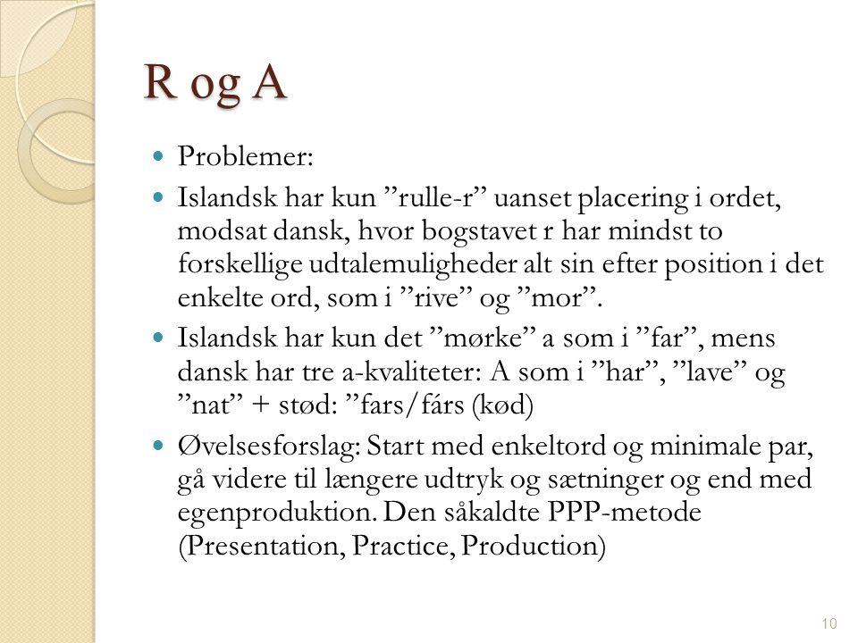 R og A Problemer: