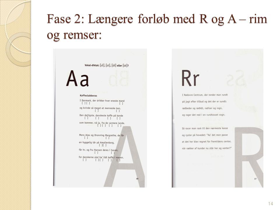 Fase 2: Længere forløb med R og A – rim og remser: