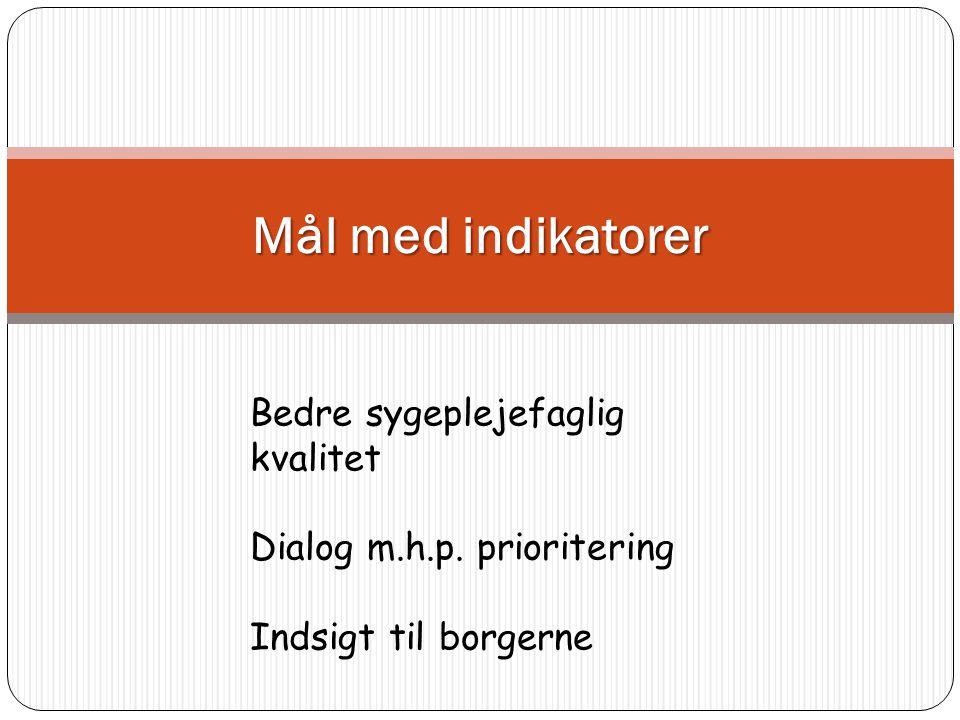 Mål med indikatorer Bedre sygeplejefaglig kvalitet