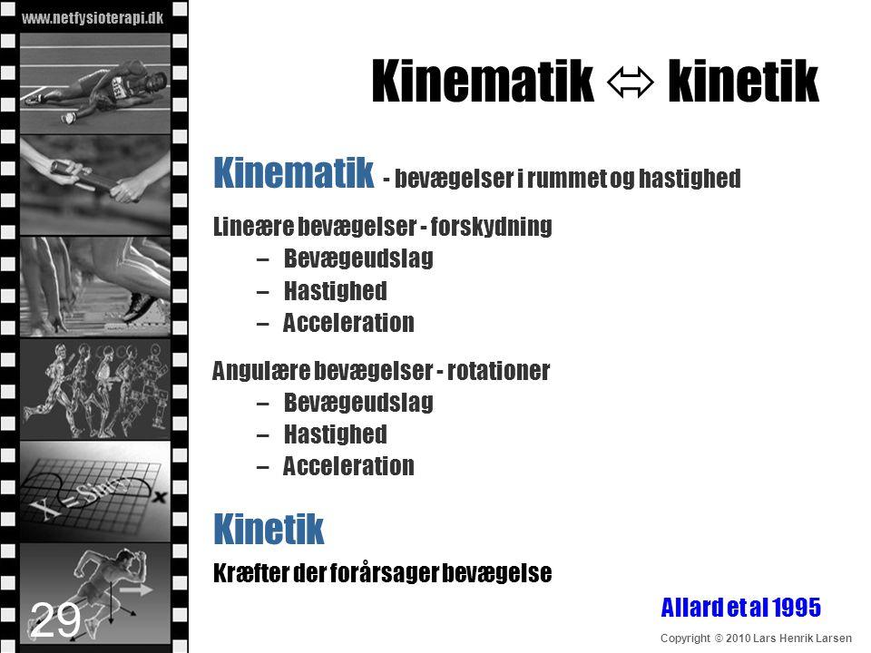 Kinematik  kinetik Kinematik - bevægelser i rummet og hastighed