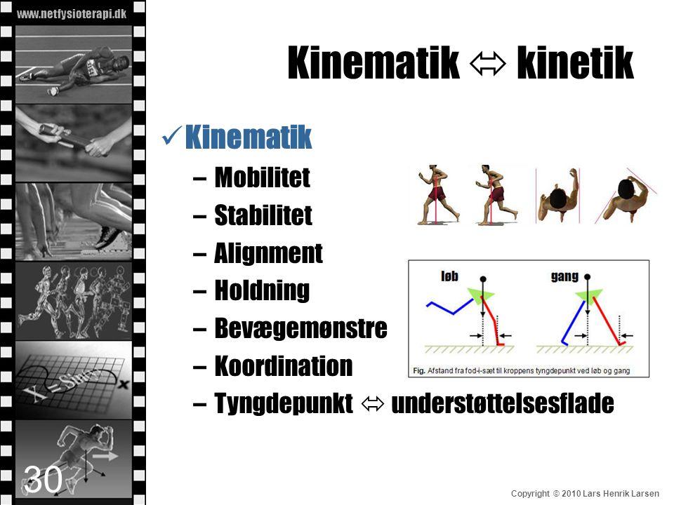Kinematik  kinetik Kinematik Mobilitet Stabilitet Alignment Holdning