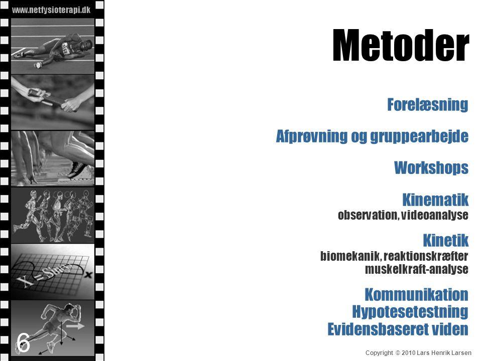 Metoder Forelæsning Afprøvning og gruppearbejde Workshops